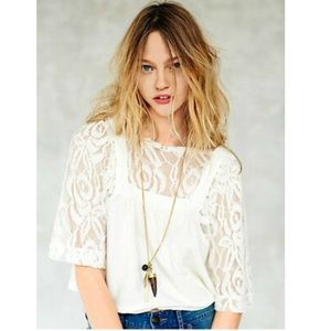 Free People Catalina Lace Ivory Crop Top Blouse